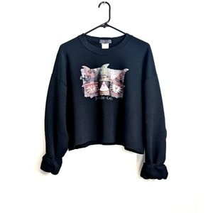 Vintage 90s Black Cropped Halloween Cats Sweater